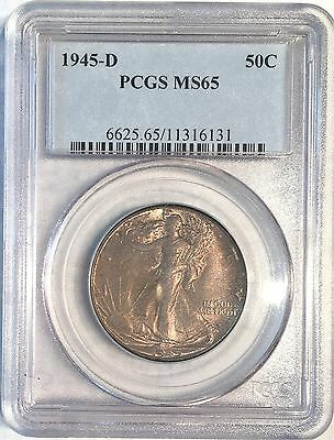 1945-d Walking Liberty Half Dollar - Pcgs Ms65 - High Quality Scans #6131