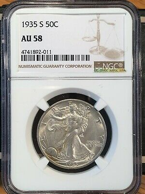 1935-s Walking Liberty Half - Ngc  Au 58 - High Quality Scans #2011