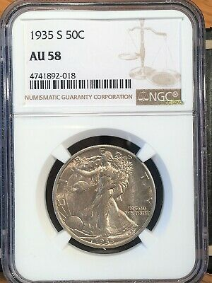1935-s Walking Liberty Half - Ngc  Au 58 - High Quality Scans #2018