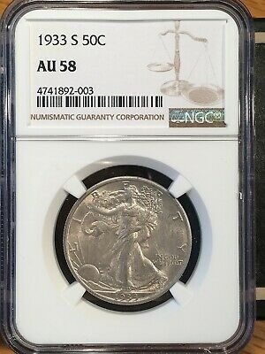 1933-s Walking Liberty Half - Ngc  Au 58 - High Quality Scans #2003