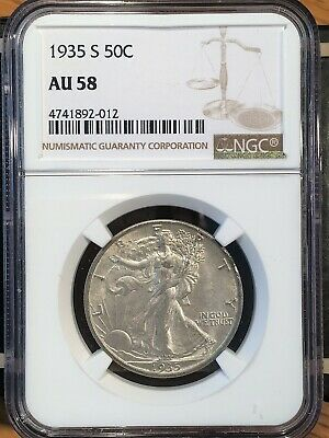 1935-s Walking Liberty Half - Ngc  Au 58 - High Quality Scans #2012