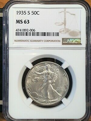 1935-s Walking Liberty Half - Ngc  Ms 63 - High Quality Scans #2006