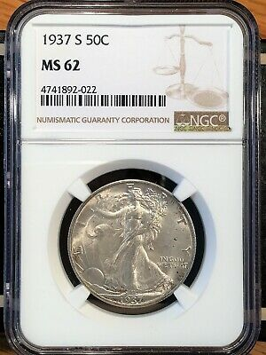 1937-s Walking Liberty Half - Ngc  Ms 62 - High Quality Scans #2022