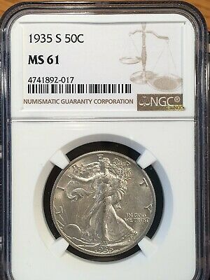 1935-s Walking Liberty Half - Ngc  Ms 61 - High Quality Scans #2017