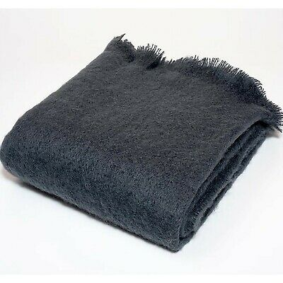 Mohair Wool Blend Throw Blanket Charcoal Grey Harlow Henry Us Chemical Free Eco