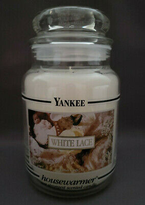 Yankee Candle White Lace 22oz Large Black Band Antique Victorian Label – Rare!!