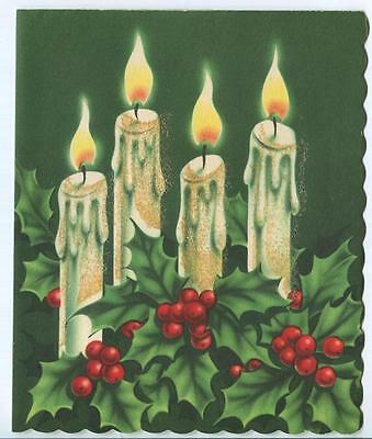 Vintage Christmas White Candles Flames Wax Drippings Holly Berries Card Print
