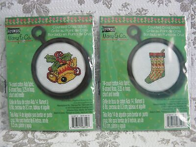 2 Mary Engelbreit Counted Cross Stitch Kit Christmas Ornaments Stocking And Bell