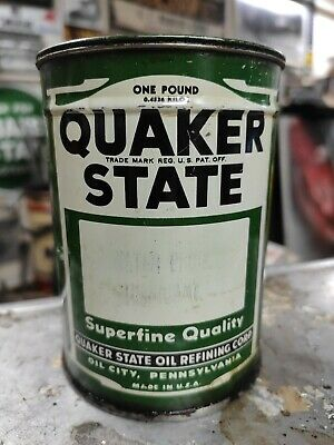 Vintage Quaker State Grease Lube Can Metal Gas Rare Oil - Partially Full