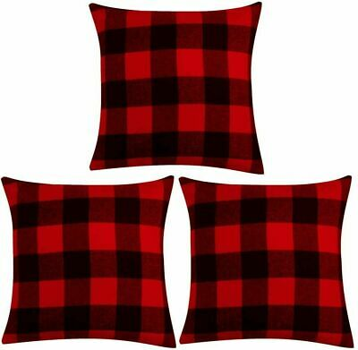 Buffalo Check Throw Pillow Covers Cotton Plaid Xmas Home Sofa Cushion Case Decor