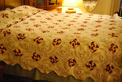 Unique King Large Hand Crocheted Bridal Bedspread 3d Rose Afghan Blanket 110x116