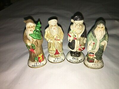 4 Vintage Santa Claus Matte Porcelain Figurines, From 1885, 1903, 1905 And 1910