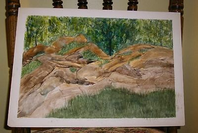 Vintage Folk Art Rocks On Country Club Road Cape Cod Summer Distressed Painting