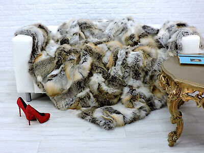 Luxury Real Red Fox Blanket Fur Throw Sofa Cover King Size 243