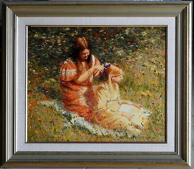 Dale Marsh (1940-) Large Original Oil Painting The Red & Golden Girls Greenfiled