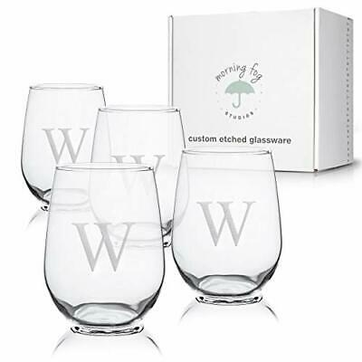 Monogrammed Stemless Wine Glasses Set Of 4, Barware Glassware With W