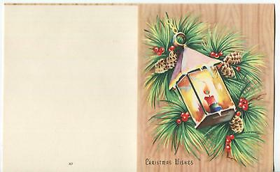 Vintage Christmas Snow Ice Candle Lantern Holly Berry Pine Cones Balsam Fir Card