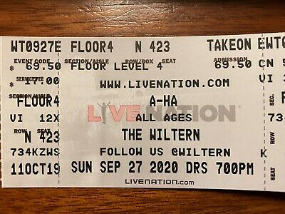 A-ha Concert The Wiltern Los Angeles Sunday 27, 2020 7pm 2-tickets Sold Out!!!!