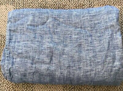 Restoration Hardware Ojai Linen Double-faced Oversized Bed Throw Blue 96x80