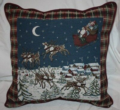 Embroidered Santa & Reindeer Sled Flying Over Houses Christmas Eve Throw Pillow