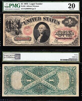 "Very Nice *rare* Vf ""floral Seal"" $1 1875 ""sawhorse"" Note! Pmg 20! Free Ship!"