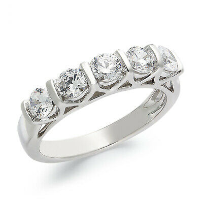 1.00 Ctw Certified Five-stone Diamond Band Ring 14k White Gold Christmas Special