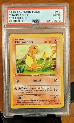 Pokemon Base Set 1st Edition Charmander 46/102 Thick Stamp PSA 9