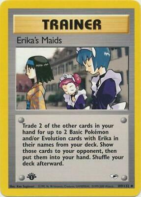 Erika's Maids 109 NM Gym Heroes 1st Edition WOTC Pokemon Card Tracked Shipping