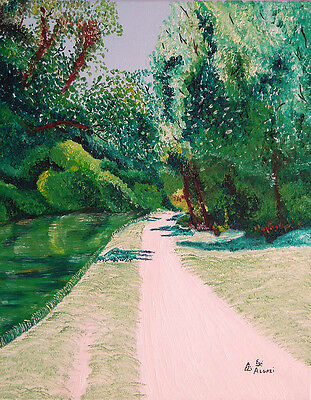 69 - Original Painting By Ezi - Walking Or Jogging Path By The River - 50% Sale