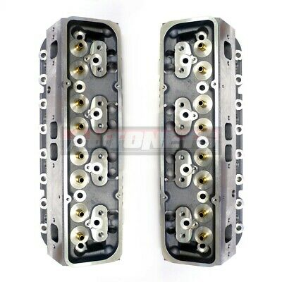 Pair Small Block Chevy Aluminum Bare Cylinder Heads Sbc327 350 64/205cc Straight