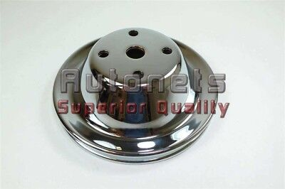Chrome Steel Small Block Chevy Sbc 69-85 Lwp Long Water Pump Pulley 1 Groove