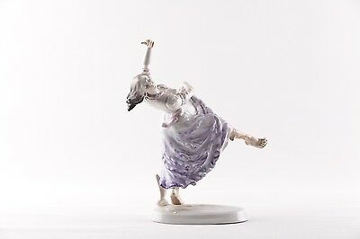 Herend Glamour Gypsy Girl In Purple Dress Dancing  Porcelain Hungary