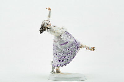 Herend Risque Glamour Gypsy Girl In Purple Dress Dancing  Porcelain Hungary