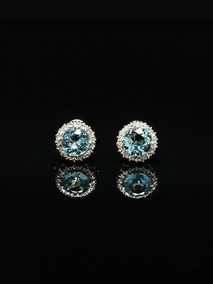 Vintage 4 Ct Natural Aquamarine And Diamond Cluster Earrings