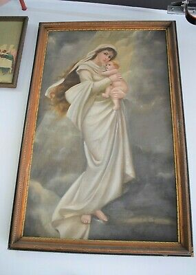 """+ Nice Older Hand Painted """"madonna W/child"""" In Frame +"""