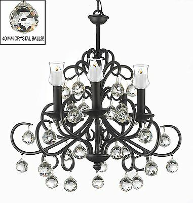Bellora Crystal Wrought Iron Lighting W/ Faceted Crystal Balls & Candle Votives!