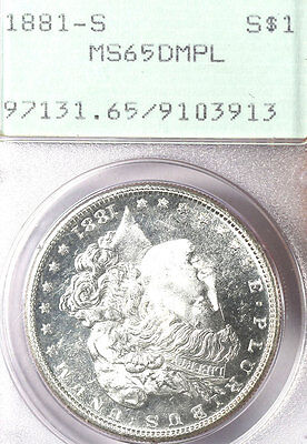 1881-s $1 Ms65dmpl Pcgs-pq-only 85 In Higher Grade-old Small Green Holder