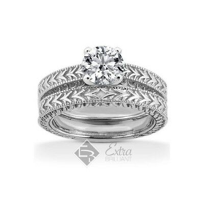 1.17ct H/i1/ideal Round Certify Diamond 14k White Gold Vintage Engraved Set 7.6g