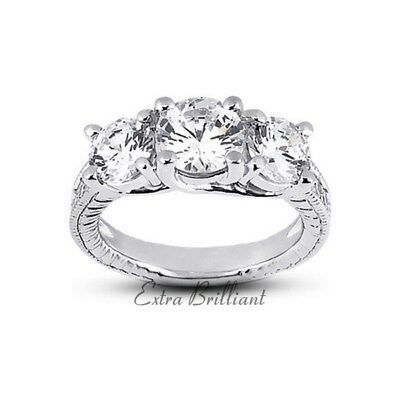 1.57ct G/si3/ideal Round Certify Diamonds 18k Vintage Milgrain Wedding Ring 5.4g