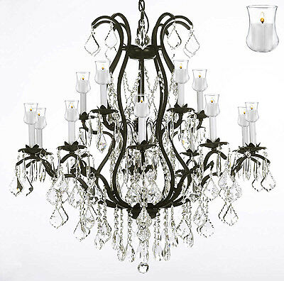 """A83-b20/wrought Iron Crystal Chandelier Lighting With Candle Votives H36"""" X W36"""""""