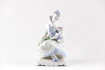 Herend Glamour Lady And Child Blue Dress Porcelain Hungary, Rare!