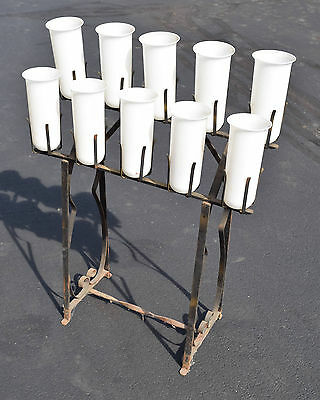+ Older Wrought Iron Church Votive Candle Stand With Glass Globes + (cf#5)