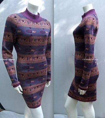 New Vintage Alaia Egg Plant/multi Calligraphy Mini Dress- Museum Collection- M
