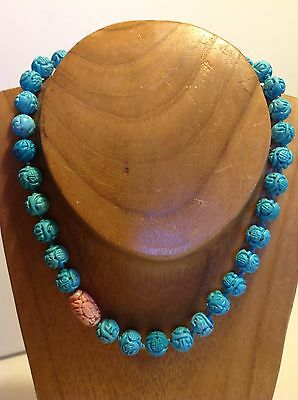 Vintage Chinese Blue Turquoise Salmon Coral Necklace Carved 69.4 Gram (m1227)