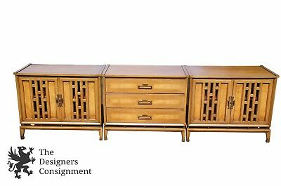 White Furniture Co. 3 Pc Walnut Server Buffet Sideboard Credenza Chest Cabinets