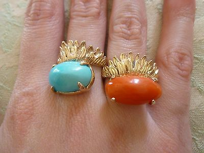 Vintage Lot, 14k Gold Natural Persian Turquoise, Red Coral Wreath Rings