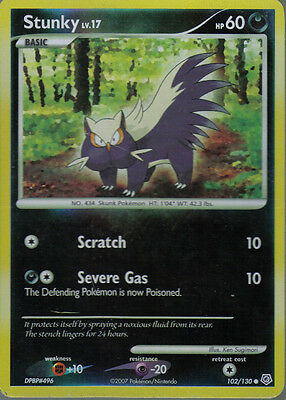 POKEMON DIAMOND AND PEARL EXPANSION REVERSE FOIL CARD 102/130 STUNKY grade 7/10