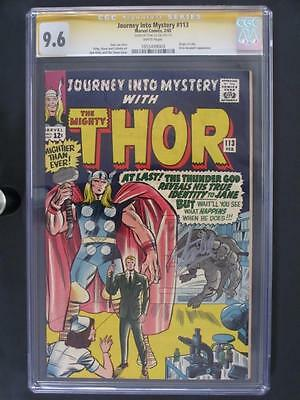 journey into mystery #113 near mint cgc 9.6 nm+ signed marvel 1965 thor!!!
