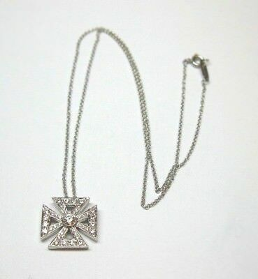 Retired Tiffany & Co Platinum Maltese Diamond Cross Necklace .52 Ct Tw, 17""