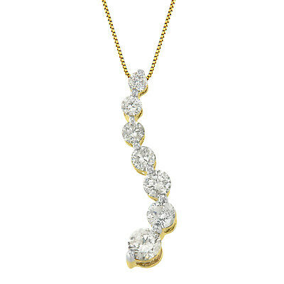14k yellow gold 2 ct. tdw round and baguette cut diamond journey pendant